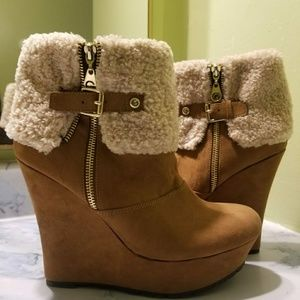 G by Guess Faux Fur Lined Suede Wedge Ankle Boots